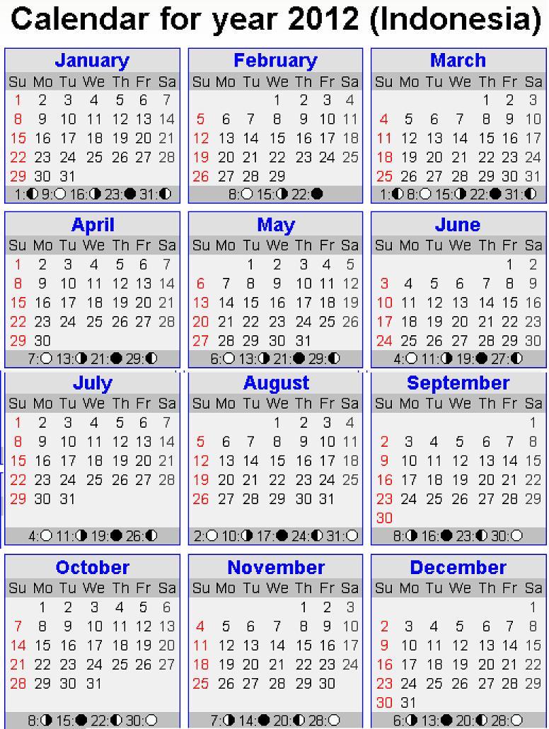 Kalender Hari Libur Nasional – Cuti Bersama 2011-2012