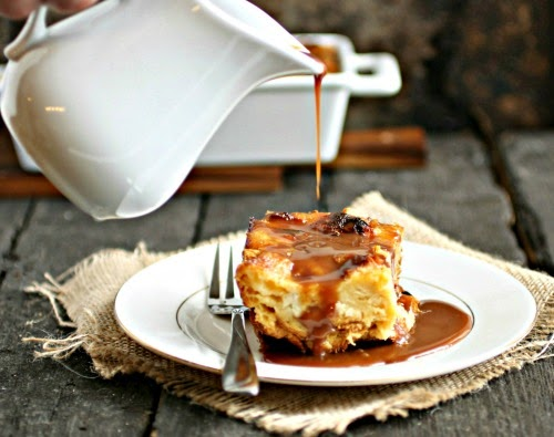 Cinnamon Bread Pudding with Salted Chocolate Rum Sauce