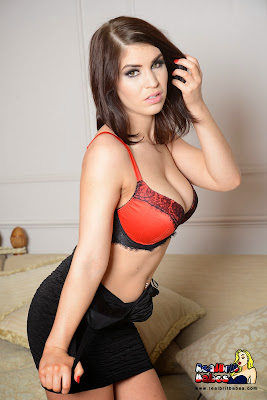 British Babe Kristie Patterson Sexy Red Bra under Little Black Dress