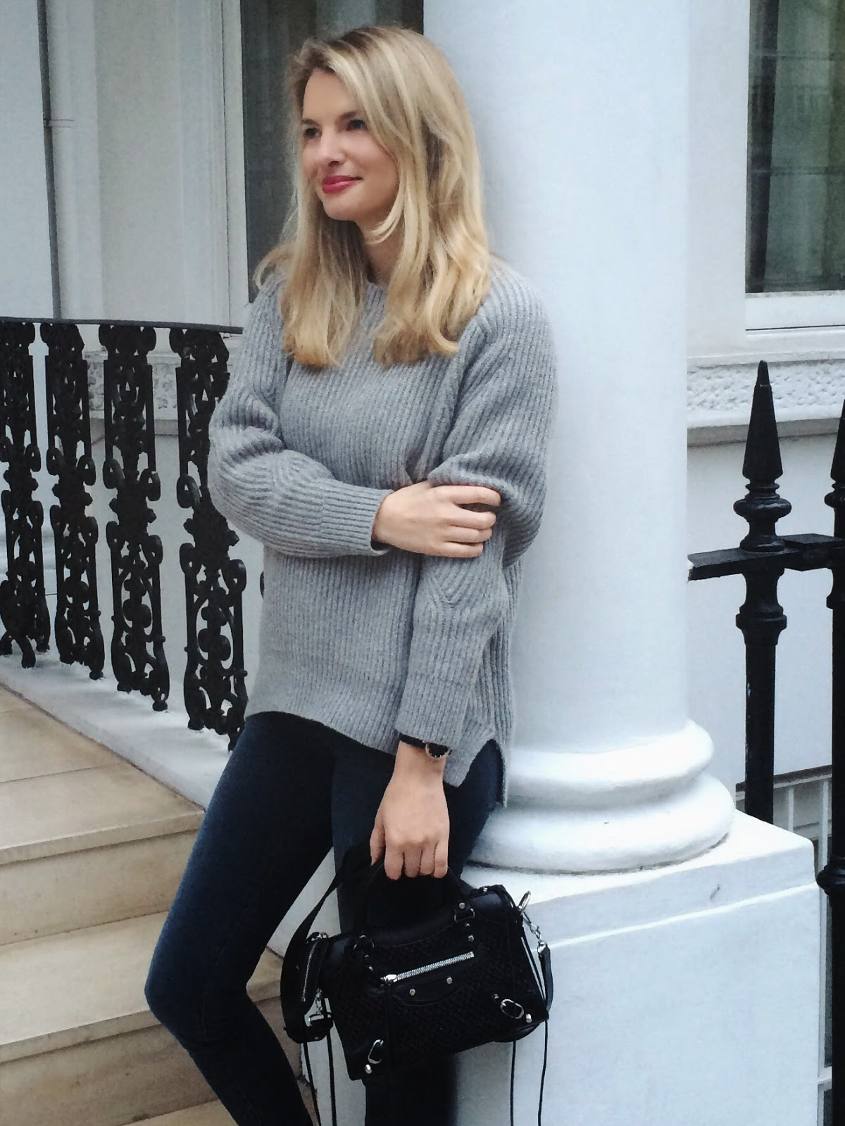 All saints grey jumper, shopping haul, sale shopping haul, grey knitted jumper, baleniaga, balenciaga city mini, black balenciaga mini, j brand jeans, street style, fashion blogger, london bloger,