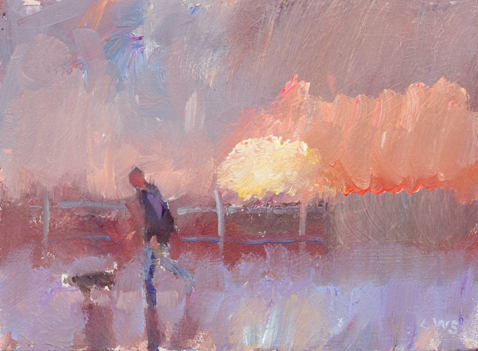 painting of man walking dog, abstract grey sky