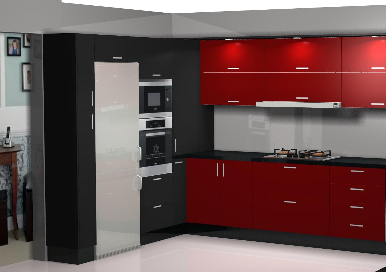 Dise o de cocina laminado en negro y burdeos for Mueble para encastrar horno y encimera