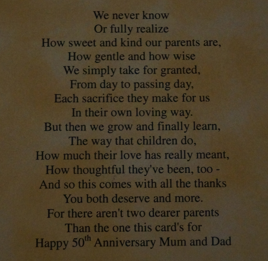 50th Wedding Anniversary Poems For Mom And Dad: Mutch To Stamp: Happy 50th Anniversary, Mum And Dad