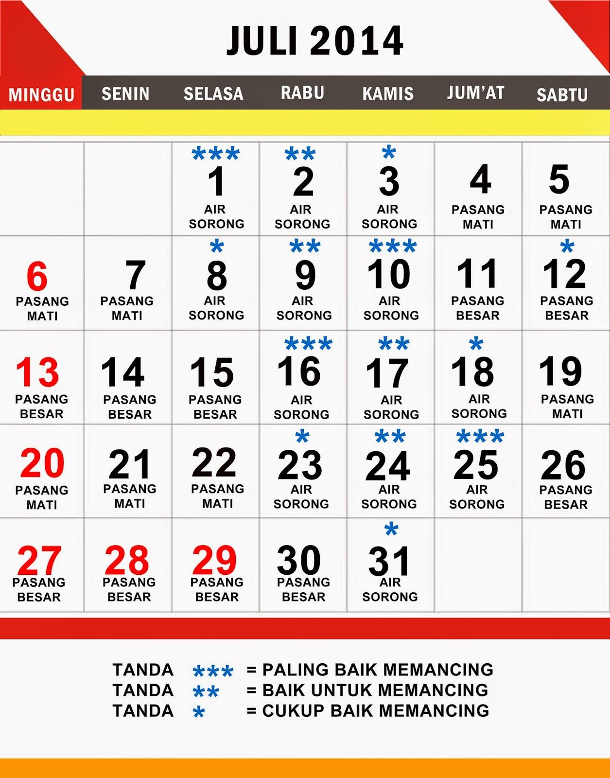 KALENDER MANCING  BULAN JULI 2014