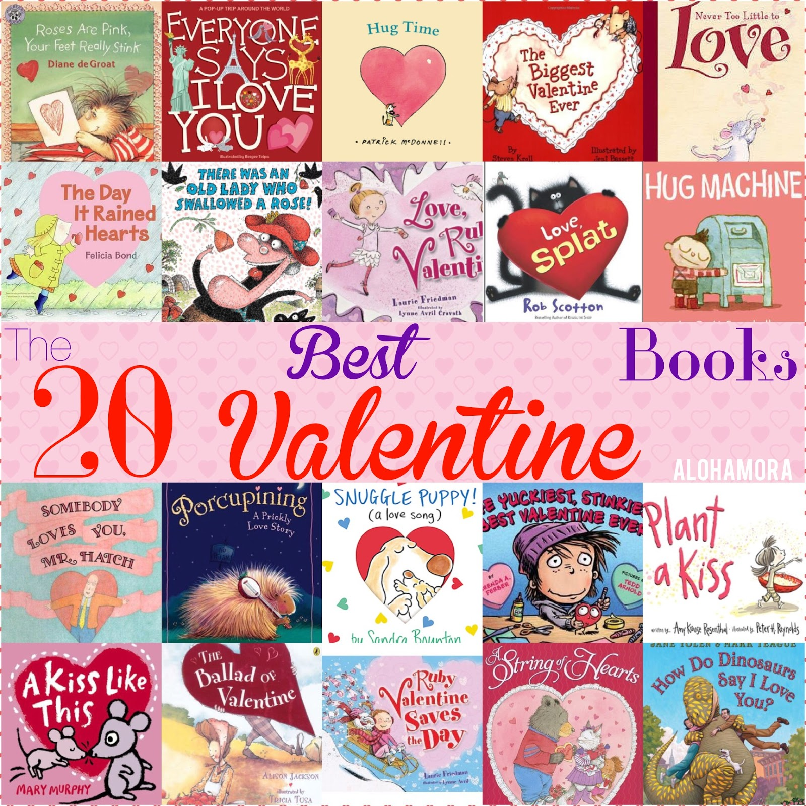 The 20 absolute BEST Valentine Books on the market today.  These 20 books make great read alouds, are picture books as well as non-ficiton books.  These reads are enjoyed by toddlers, preschoolers, Kindergarten, 1st , 2nd, 3rd, 4th, 5th, and 6th graders at least.  Parents and teachers will enjoy reading them as well.  Alohamora Open a Book http://alohamoraopenabook.blogspot.com/