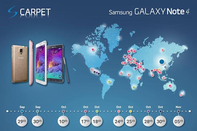 Samsung Galaxy Note 4 launch dates