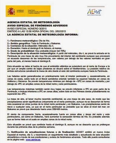 Aviso especial ola de frío España, AEMET