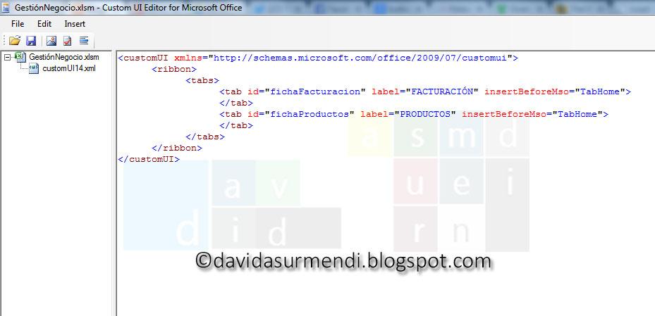 Código XML para definir dos fichas personalizadas
