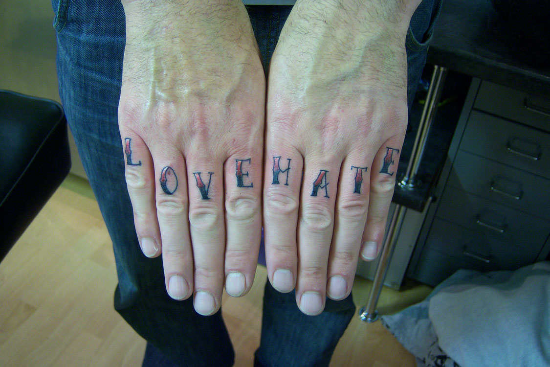 Love hate tattoo3d tattoos for Love n hate tattoo