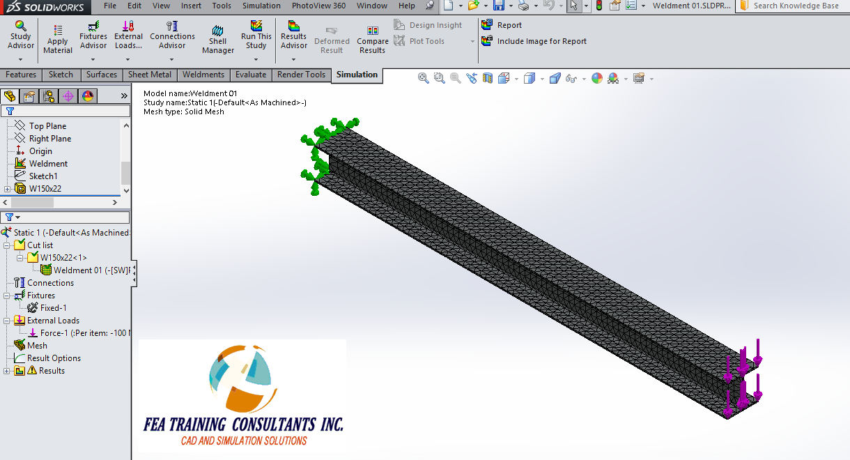 weldments in solidworks simulation