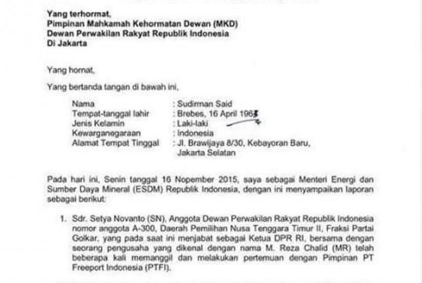 surat laporan Menteri ESDM Sudirman Said
