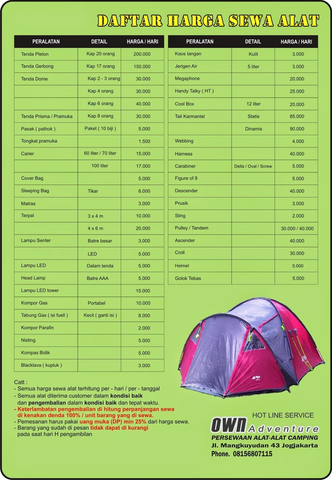 Harga Sewa Tenda Dan Peralatan Outdoor Own Adventure Mangkuyudan Yogyakarta