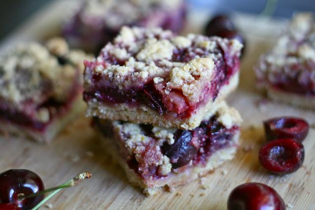 Fresh Cherry Crumb Bars