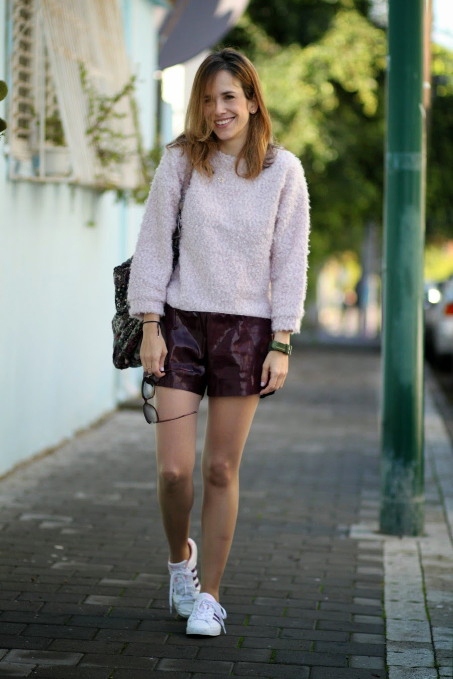 leathershorts, fluffyjumper, ootd, lookoftheday, adidaswomen, streetstyle, telavivfashion, chicwish, fashionblog, blog, אופנה, בלוגאופנה