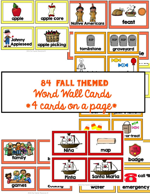 word wall cards (fall)