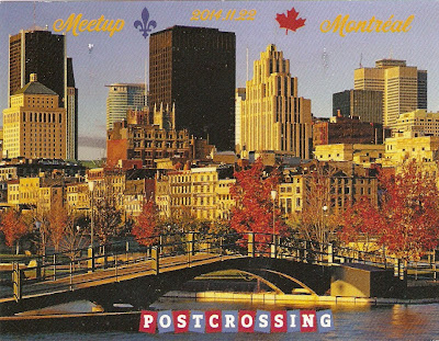 Special card from the first Montreal Postcrossing meetup