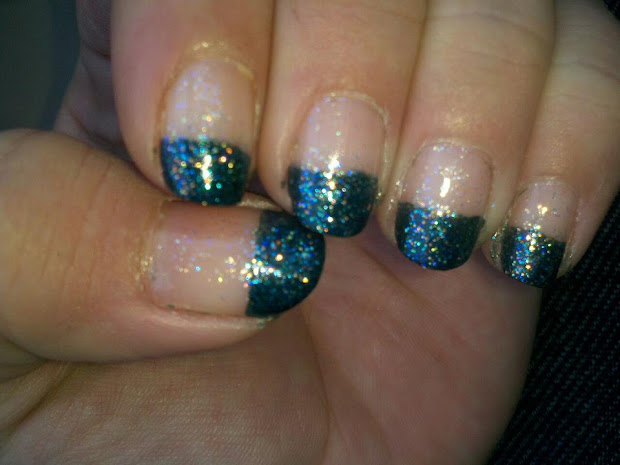 nail art teal french tips