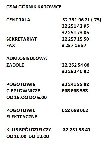 GSM GÓRNIK - ADMINISTRACJA