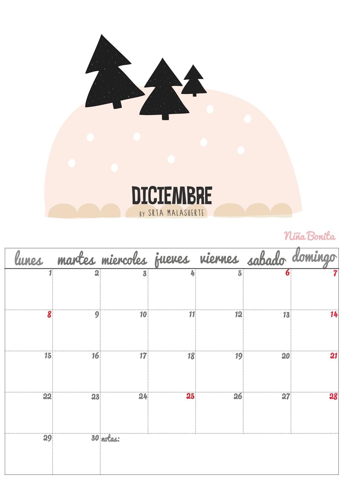 Calendario Diciembre Niña Bonita