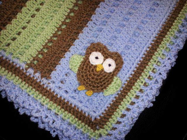 Free Crochet Pattern For Owl Baby Blanket : Raising Mimi @PoochieBaby: Baby Owl Blanket Pattern