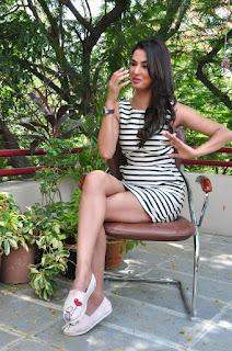 Actress Sonal Chauhan  Pictures in Short Dress at Pandaga Chesko Interview  0136.jpg