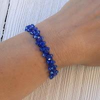 Sapphire Swarovski Crystal Wire Crochet Bracelet
