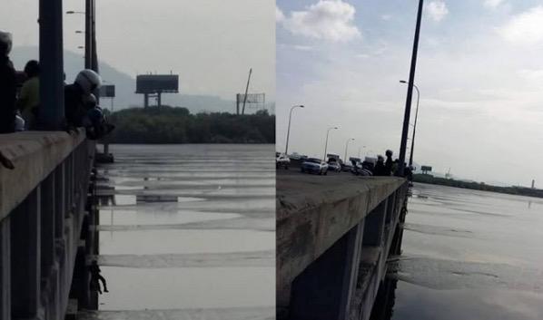 4 Gambar penunggang motosikal tercampak ke laut dari atas Jambatan Pulau Pinang kerana elak kemalangan