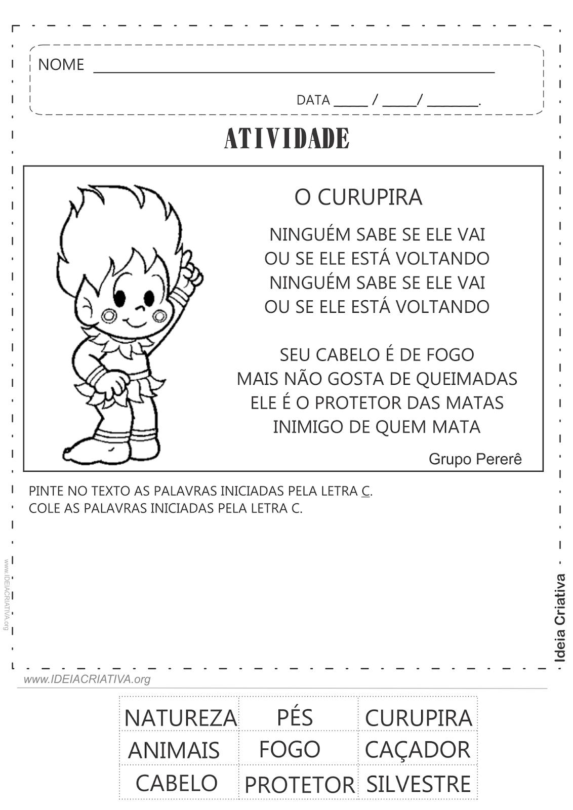 Atividade O Curupira Folclore Letra C