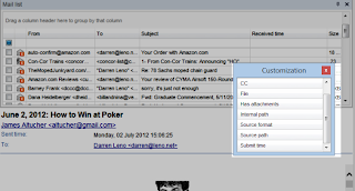 Image shows how to customize the Eml Viewer Pro mail list.