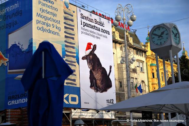 Главная площадь Загреба (Хорватия) зимой
