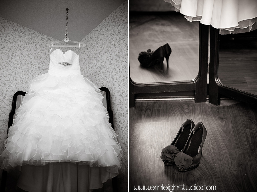 bridal dress and shoes at Lone Summit Ranch