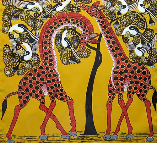 Frames and colors african art for African mural painting