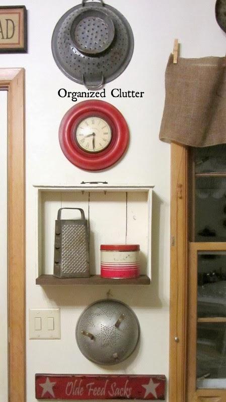 Rustic Kitchen & Repurposed Drawer Shelf www.organizedclutterqueen.blogspot.com