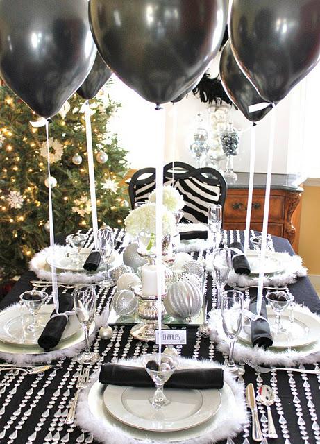 черно-белая сервировка стола