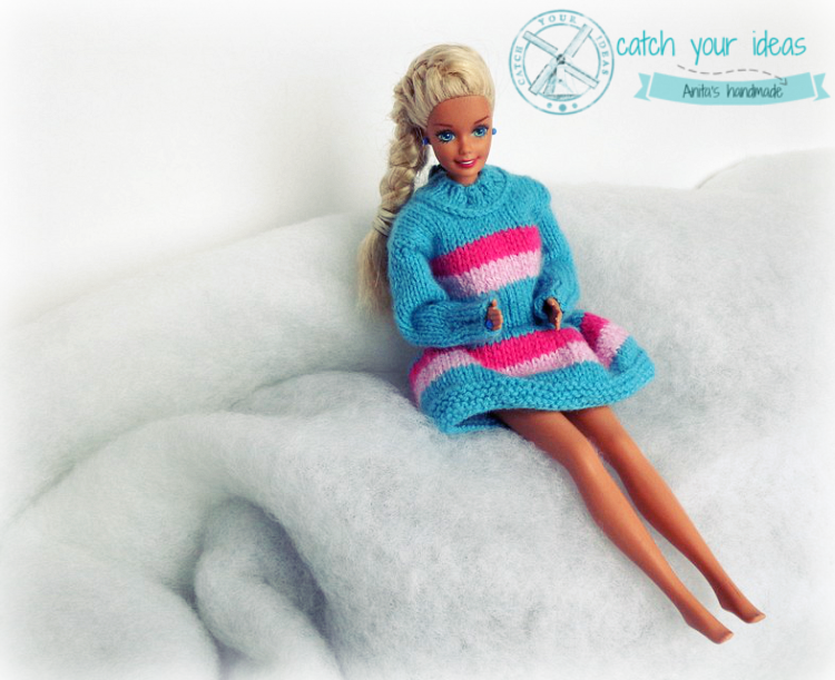barbie-w-spódniczce-i-sweterku-na-drutach, barbie-sweterek, barbie-sweter-na-drutach, ubranka-dla-barbie, knit-barbie-clothes, knit-barbie-pulover, barbie-winter-outfit