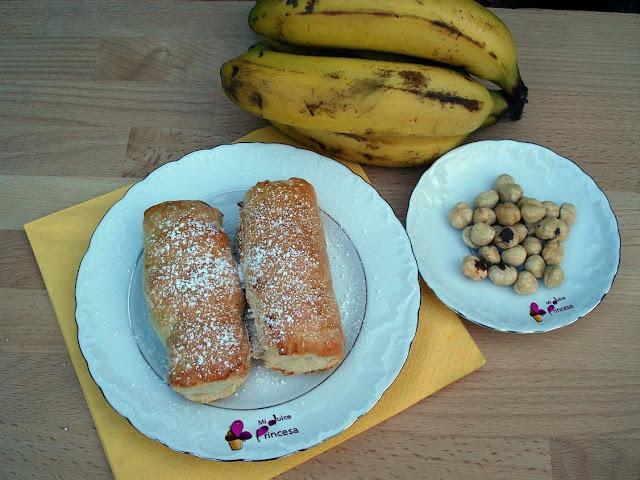 hojaldre, chocolate, plátano, napolitanas, plátano y chocolate