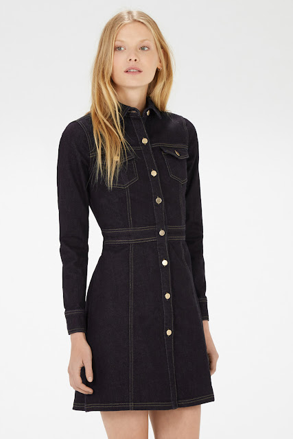 warehouse black denim dress, black denim shirt dress,