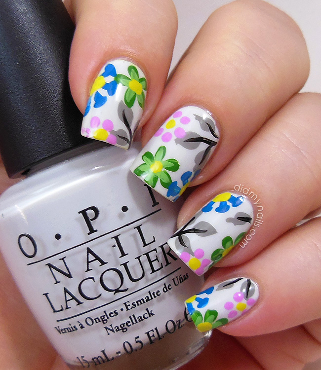 Did my nails bright flower nail art on white flower nail art on opi my boyfriend scales walls prinsesfo Image collections