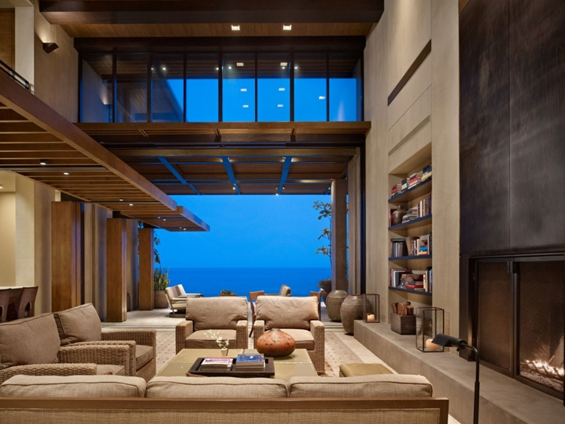 Living room in Gorgeous modern stone house on the beach