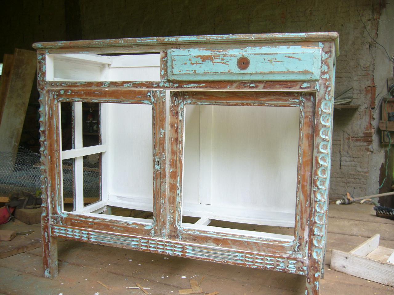 antigo armário espelho triplo de banheiro reaproveitei fazendo  #644B33 1280x960 Armario Banheiro Antigo