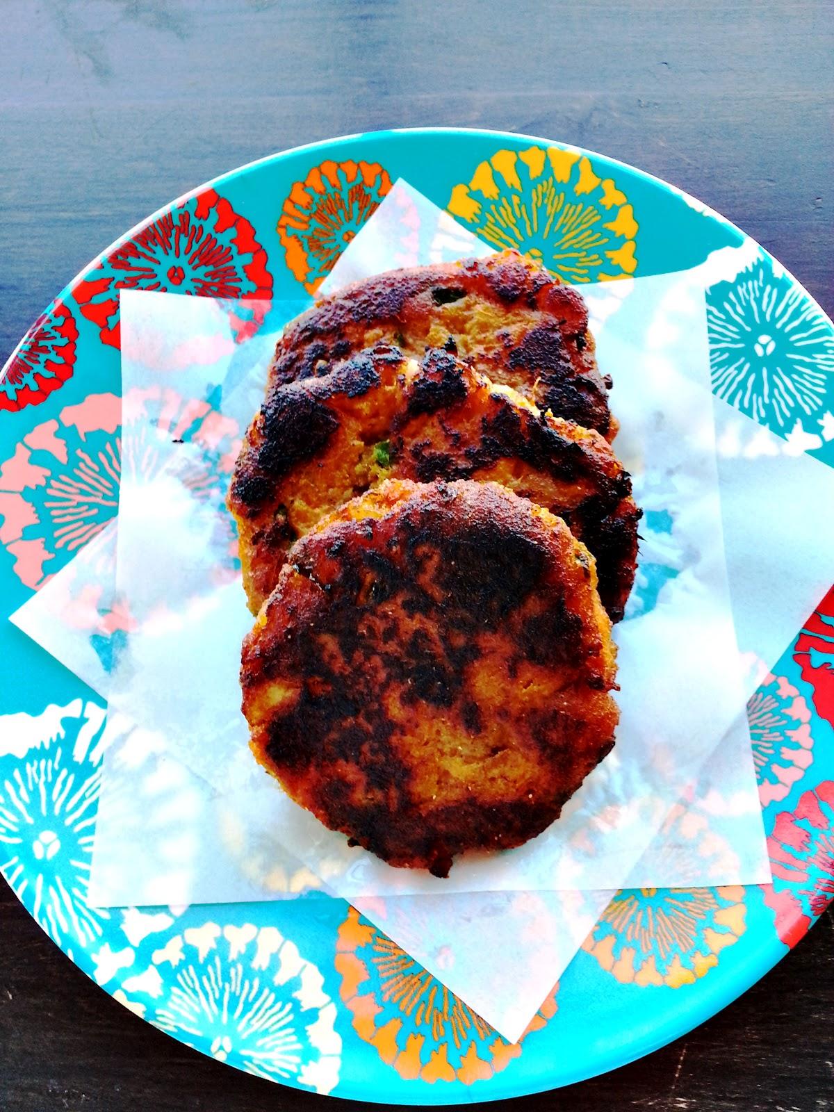Indian spiced sweet potato pattiesCherry on my Sundae