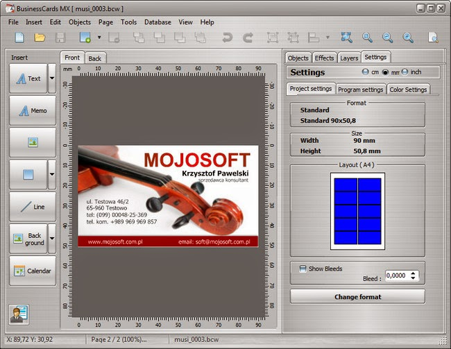 218 mojosoft businesscards mx 494 dc 14042015 multilingual this program will help to design and print a professional business card the interface of the program has been designed in such a way that even a beginning reheart Choice Image