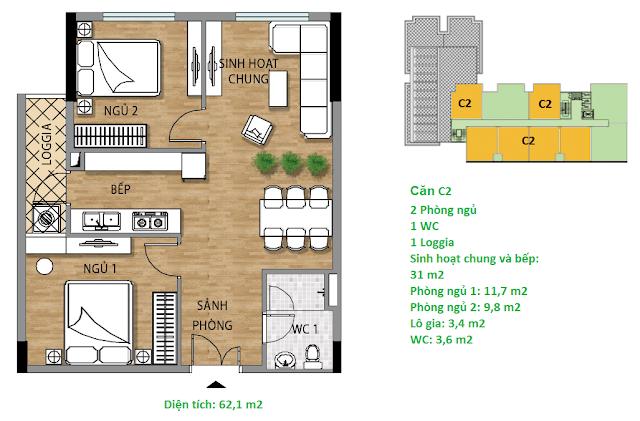Căn hộ C2 diện tích 62,1 m2 tầng 8-9 - Valencia Garden