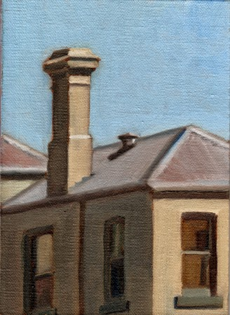 Oil painting of a grey-green Victorian house and chimney.