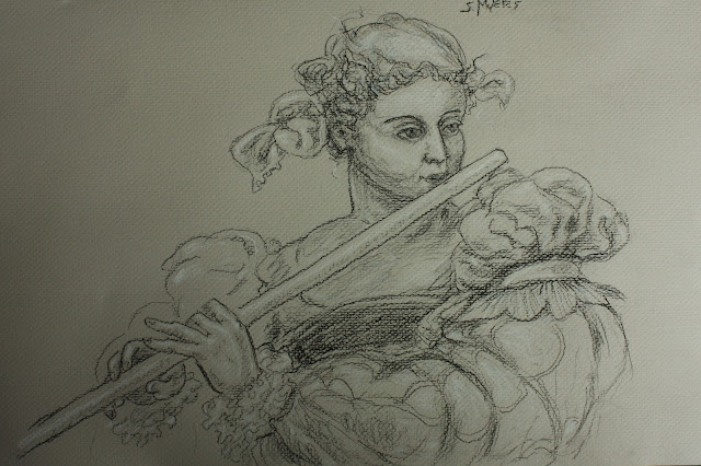 Flautist, music, flute, Sarah, Myers, charcoal, drawing, conte, shading, figurative, woman, classic, tobias, stimmer, sixteenth, century, musical, study, art, arte