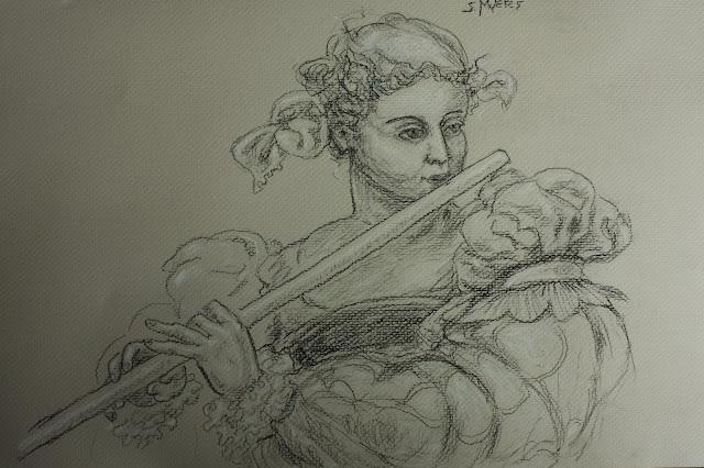 Flautist, music, flute, Sarah, Myers, charcoal, drawing, conte, shading, figurative, woman, classic, tobias, stimmer, sixteenth, century, musical, study, art, arte