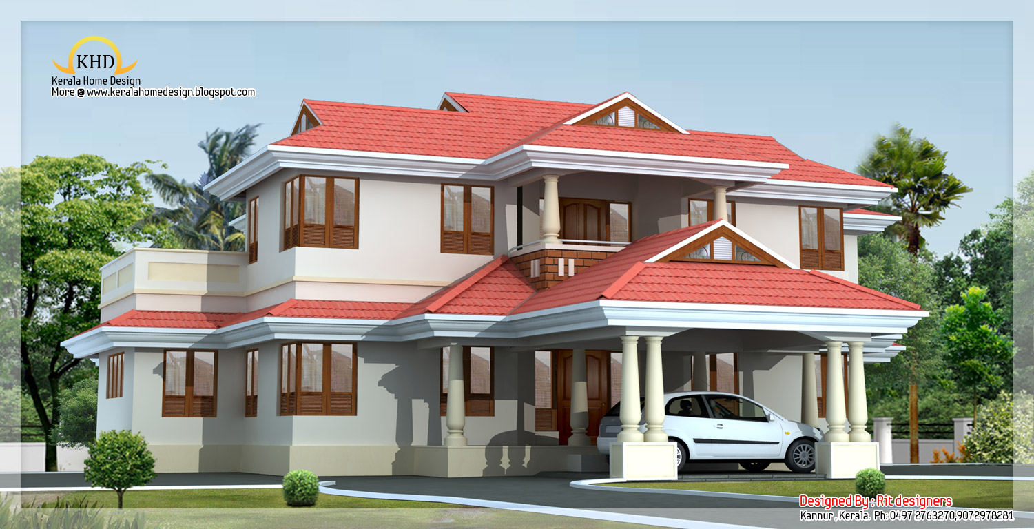Villa elevation 3755 sq ft kerala home design and floor for Beautiful house elevations kerala
