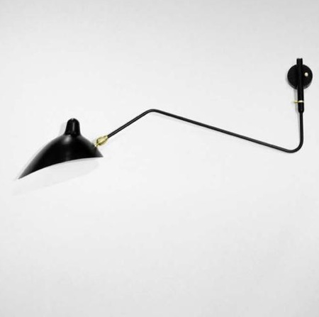 Sconce with One Curved Rotating Arm; $2,820. by Serge Mouille Licensed  Edition Rotating Sconce - 1 Curve - LET'S STAY: Industrial Long Swing Arm Light Fixtures