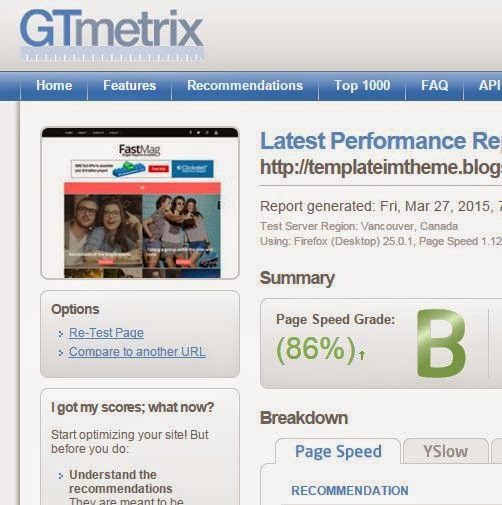 fast load template fastMag dari GTmetrix