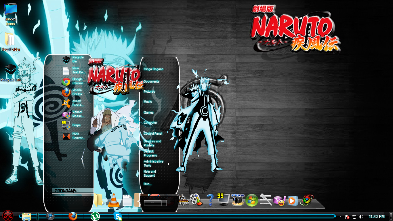 Lightuzumaki Naruto Kyubi Light Blue Theme For Windows 7